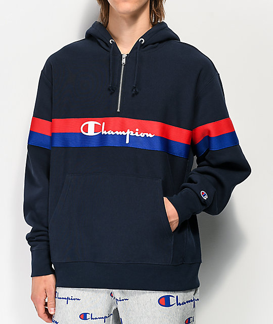 Champion Reverse Weave Half Zip Navy Blue Hoodie