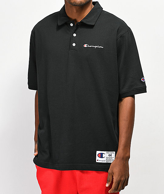 Champion Reverse Weave Heavyweight Black Polo
