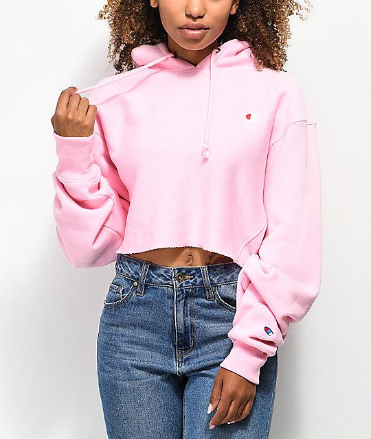 05c0c07f6fb98 Champion Reverse Weave Pink Crop Hoodie