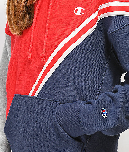 Champion Reverse Weave Red, Navy & Grey Hoodie