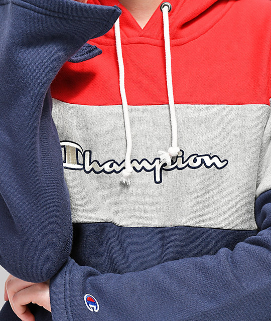 Champion Reverse Weave Red, White & Navy Crop Hoodie