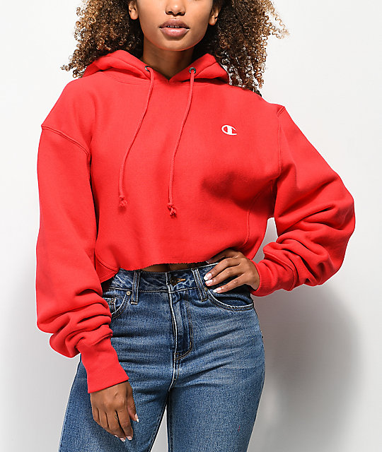 d1949a97646b Champion Reverse Weave Red Crop Hoodie