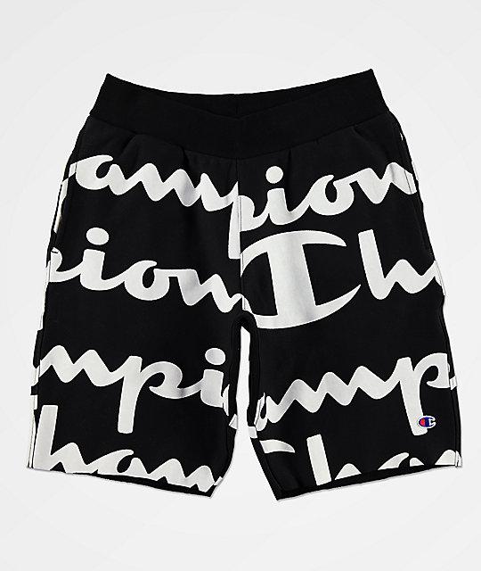 f72277af79b Champion Reverse Weave Script Black Sweat Shorts