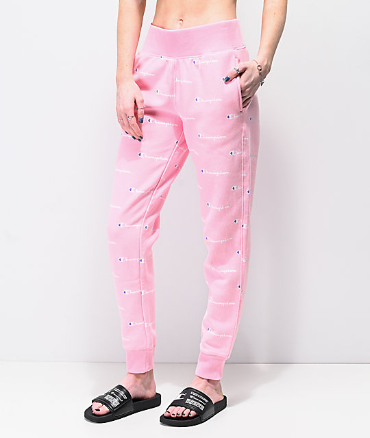 4023ed616a41 Champion Reverse Weave Script Pink Jogger Sweatpants