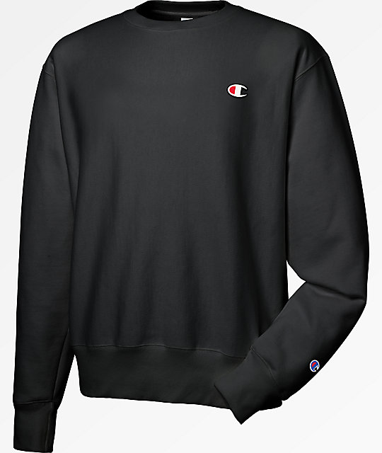 ff9fbd1b712f Champion Reverse Weave Small Logo Black Crew Neck Sweatshirt
