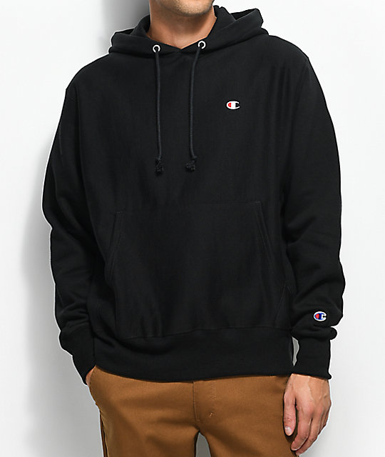 Champion Reverse Weave Small Logo Black Hoodie ...
