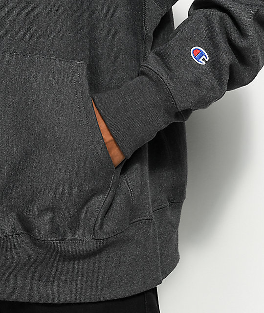 Champion Reverse Weave Small Logo Granite Heather Hoodie