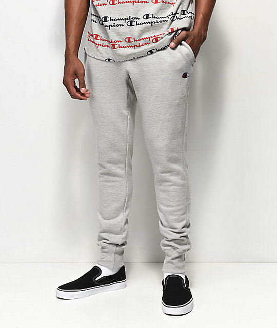 Shoptagr Champion Reverse Weave Small Logo Oxford Grey Sweatpants