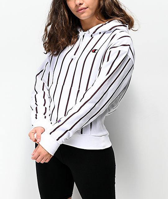 9acf0ae0 Champion Reverse Weave Stripes White Hoodie | Zumiez