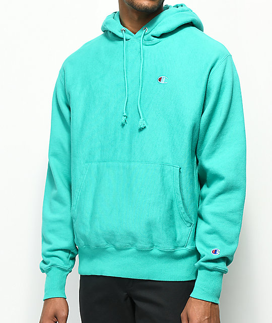 Champion Reverse Weave Teal Pigment Dyed Hoodie