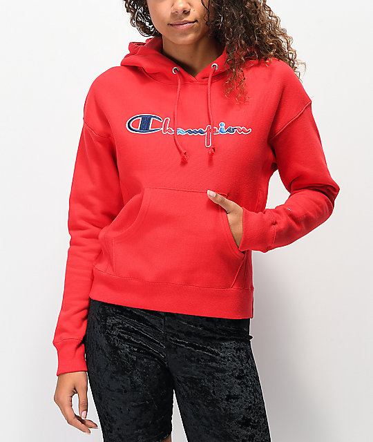 Champion Reverse Weave Three Color Red Hoodie