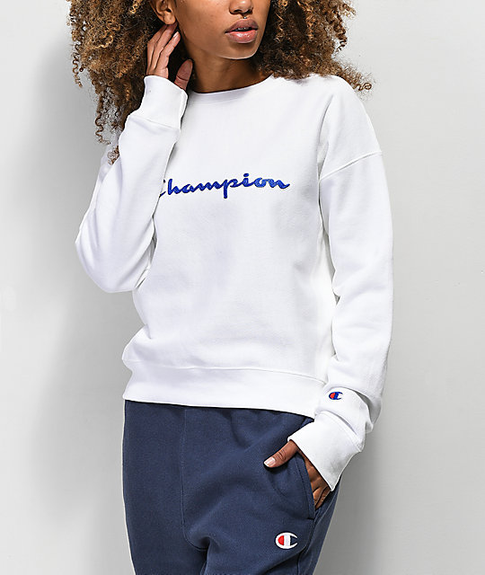 92325d152e7f Champion Reverse Weave White Crew Neck Sweatshirt