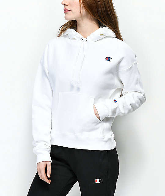 Champion Reverse Weave White Hoodie  ea437f6006