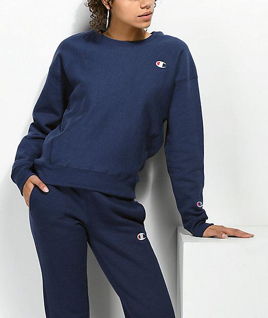 la mejor actitud 82d2a 4902b Champion Reverse Weave sudadera azul marino con cuello redondo
