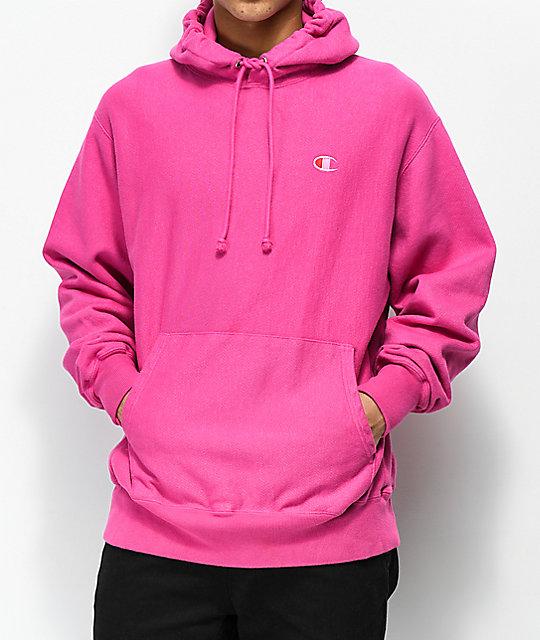 Champion Reverse Weave sudadera con capucha con teñido rosa ...