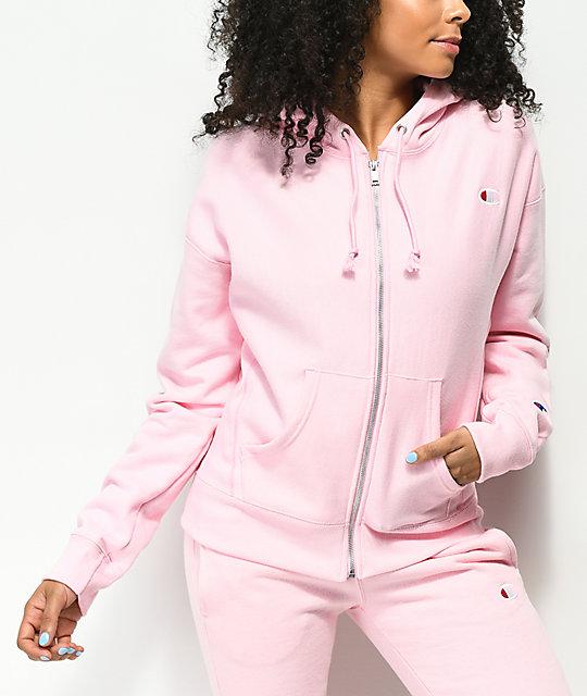 Para estrenar 03b33 15148 Champion Reverse Weave sudadera rosa con capucha y cremallera