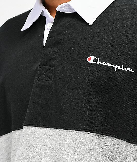 c0fdce39 Champion Rugby Black, Grey & Green Long Sleeve T-Shirt | Zumiez