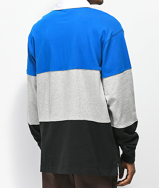 Champion Rugby Blue, Grey & Black Long Sleeve T-Shirt