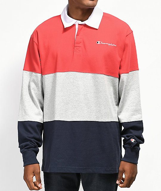 7cf6689a Champion Rugby Red, Grey & Navy Long Sleeve T-Shirt | Zumiez