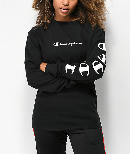 1c727f64 Champion Script Black Long Sleeve T-Shirt | Zumiez