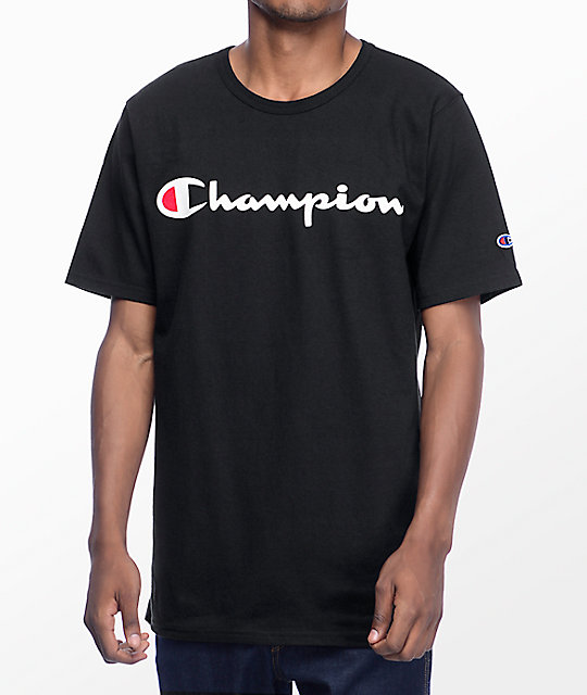 champion script black t shirt zumiez. Black Bedroom Furniture Sets. Home Design Ideas