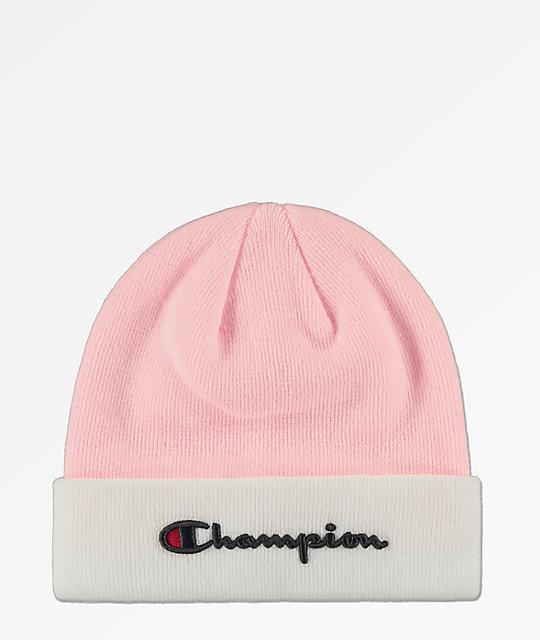 cdaaabce1 Champion Script Candy Pink & White Beanie