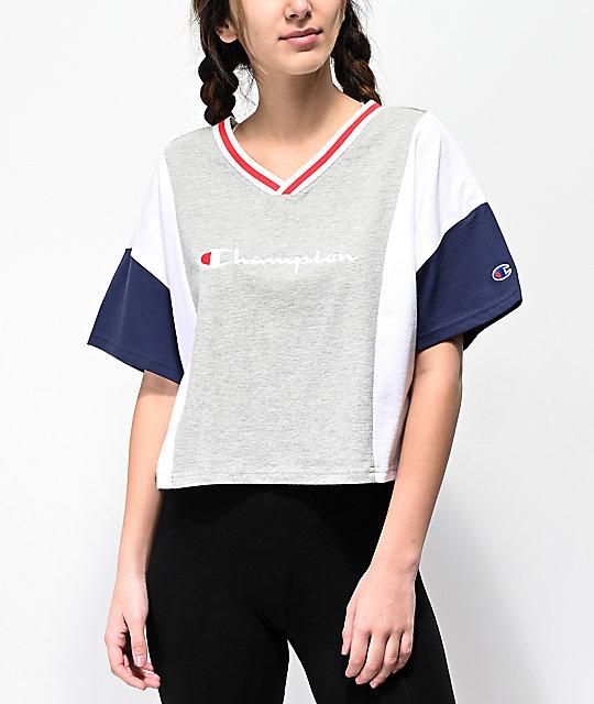 a7b89f154 Champion Script Colorblock Grey, Blue & White Crop T-Shirt   Zumiez
