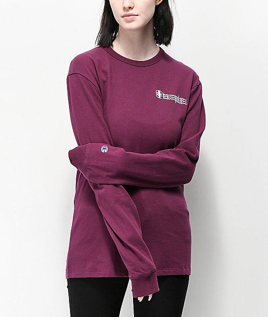 62532a8f Champion Script Dark Purple Long Sleeve T-Shirt | Zumiez