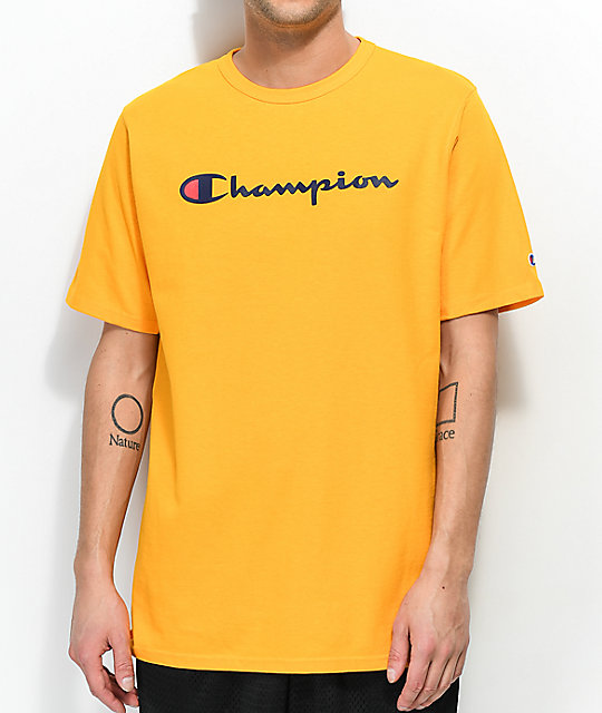 1133f289 Champion Script Gold T-Shirt | Zumiez