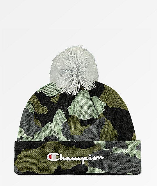 6495f238d Champion Script Knit Pom Camo Beanie