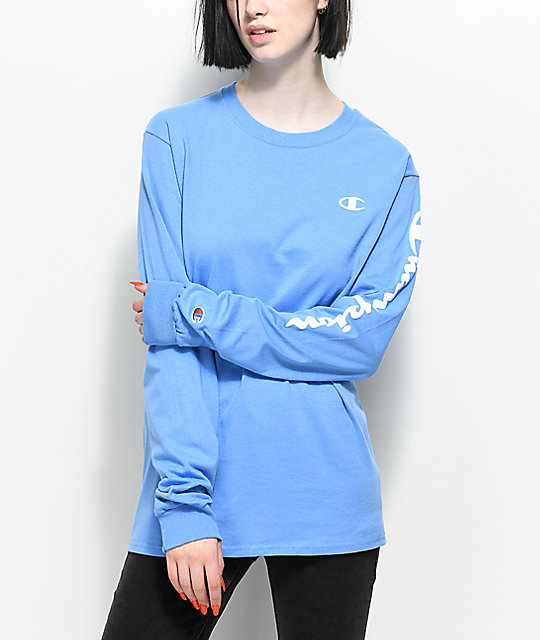 Champion Script Light Blue Long Sleeve T-Shirt  374330588f9