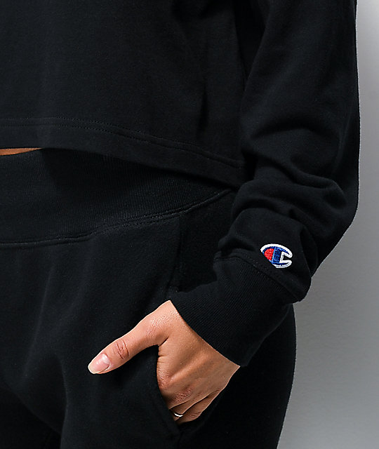 Champion Script Logo Black Crop Long Sleeve T-Shirt