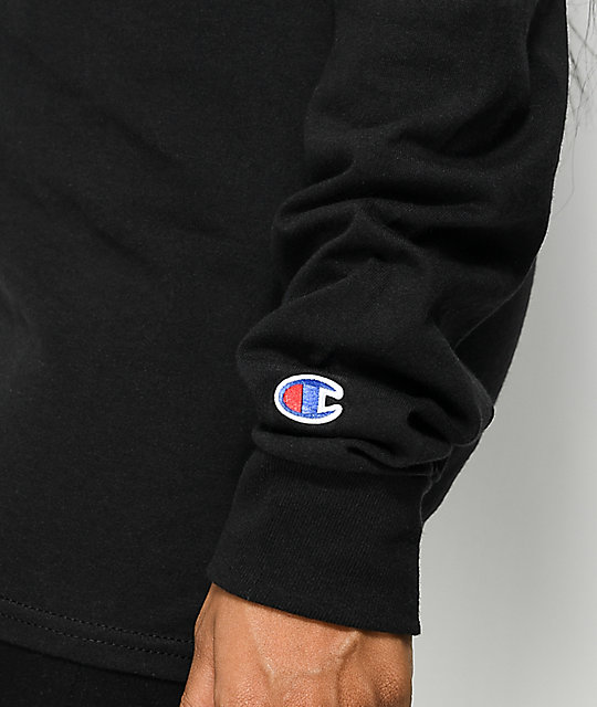 Champion Script Logo Black Long Sleeve T-Shirt