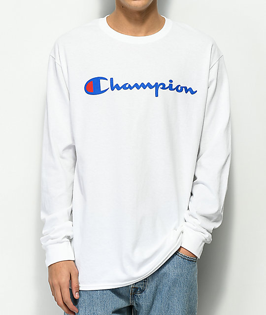 62ce52e8 Champion Script Logo White Long Sleeve T-Shirt | Zumiez