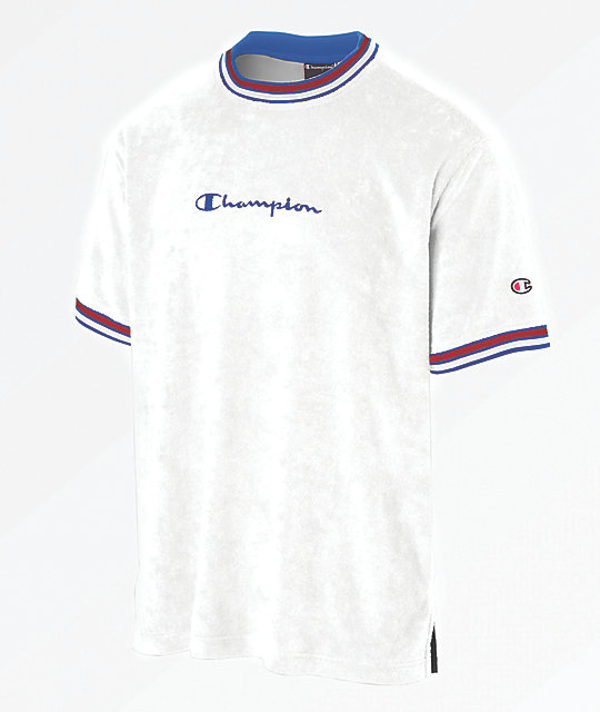 db720df5 Champion Script Logo White Terry Ringer Shirt | Zumiez.ca