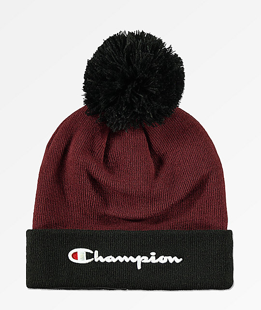 Champion Script Maroon   Black Knit Pom Beanie  95934b9548e