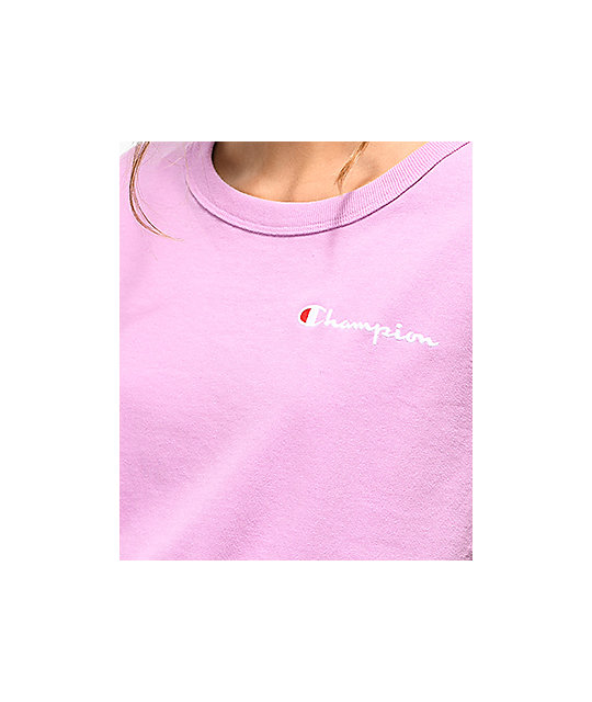 Champion Script Pink Crop T-Shirt
