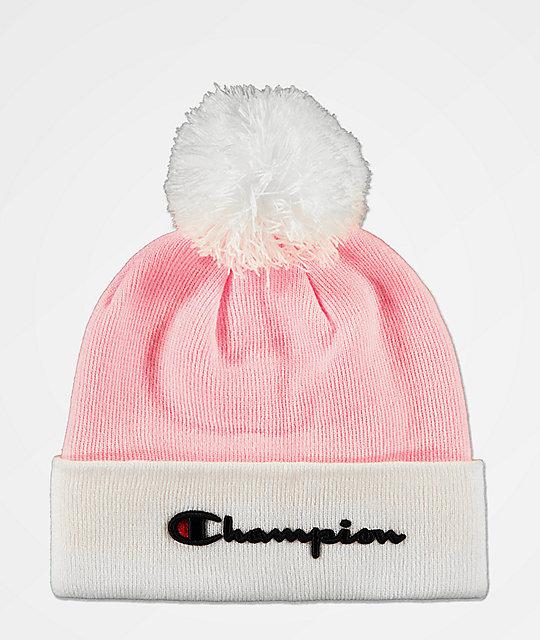 Champion Script Pink Pom Beanie  d3d7f298345