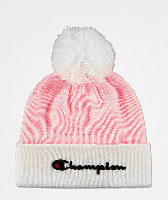 6693e1a4d Champion Script Pink Pom Beanie