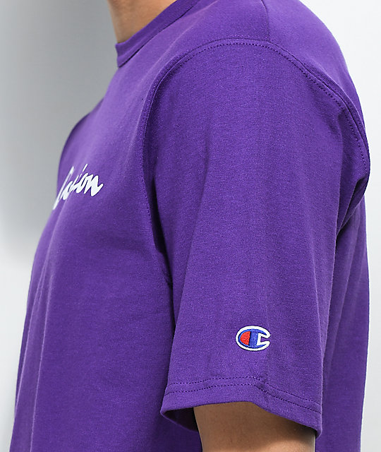 b3499bb5 Champion Script Purple T-Shirt | Zumiez