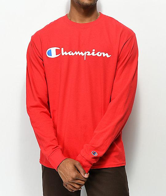 e8cab4f5 Champion Script Red Long Sleeve T-Shirt | Zumiez