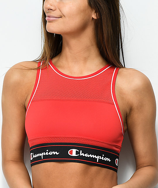 Champion Script Red Mesh Sports Bra