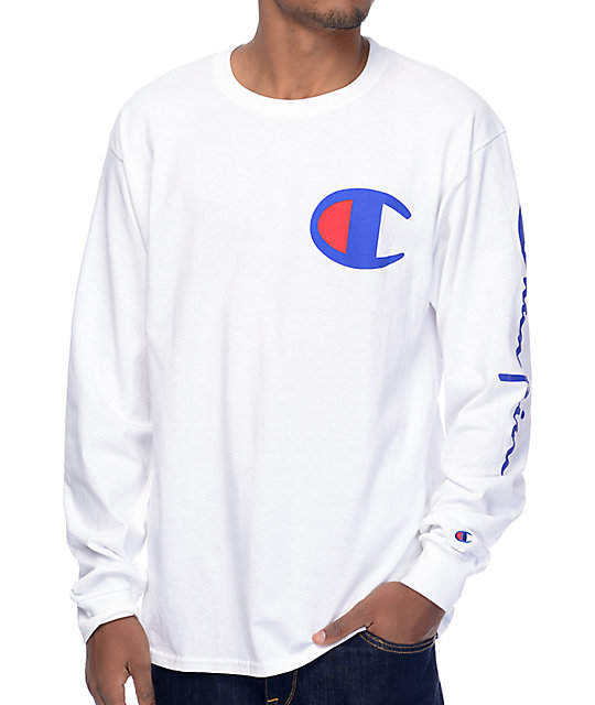Champion Script Sleeve White Long Sleeve T-Shirt  4a9c4c4e75db