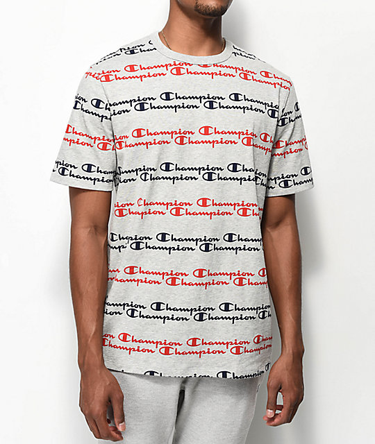 Champion Script Stripe Heather Grey T-Shirt