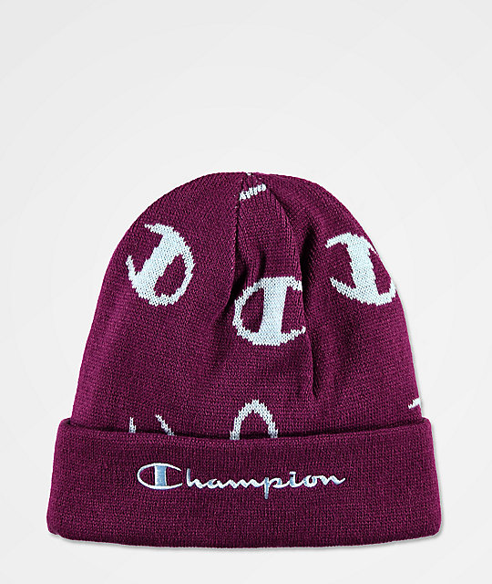 Champion Script Venetian Purple Beanie