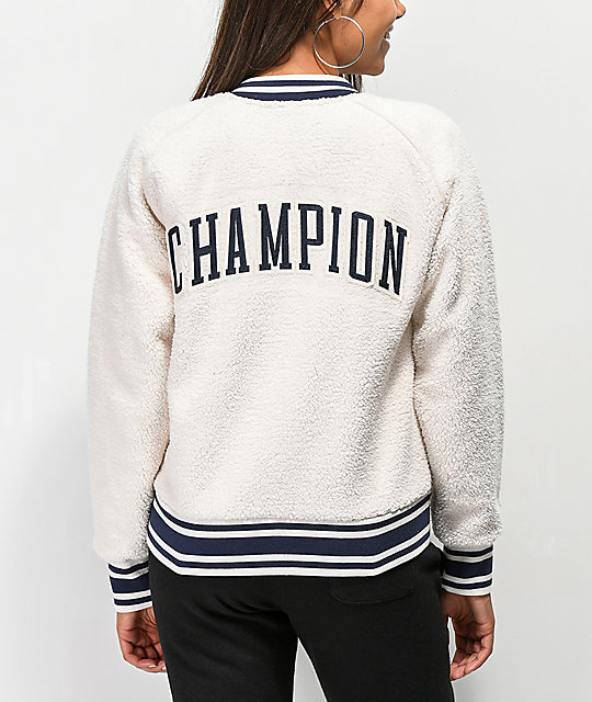 Champion Sherpa Cream Bomber Jacket