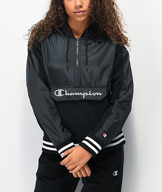Champion Sideline Black Half Zip Hoodie