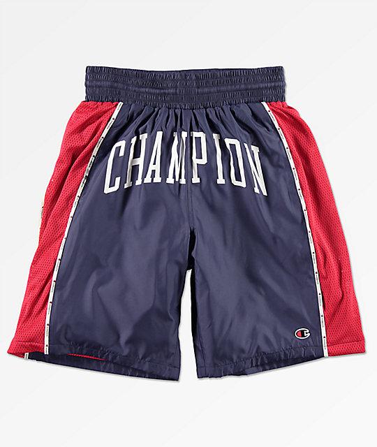 champion-sideline-satin-navy-&-red-basketball-shorts by champion