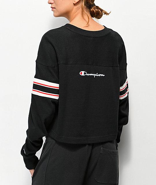 e36dc0d8c1 Champion Stripe Black Crop Long Sleeve T-Shirt | Zumiez