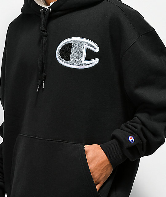 Champion Super Fleece Black Hoodie